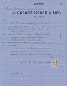SCOTLAND DUNDONALD George Hodge & Son, Builders 1887 attractive nice old vintage