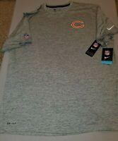 NIKE NFL CHICAGO BEARS DRI-FIT GREY ONFIELD T-SHIRT MENS XXL 2XL 836867 071