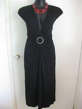 SIZE 24 SMART FLATTERING BLACK RING KNOT BUCKLE DETAIL DRESS - BNWT