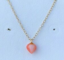 """14K YELLOW GOLD CORAL PENDANT COMES ON A 14K YELLOW GOLD 16"""" CHAIN"""