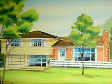 Vintage Mid-Century Modern Ranch House Painting Architectural Rendering R Hirsch