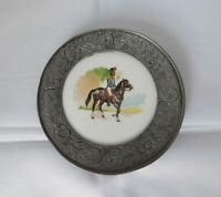Antique Pewter Porcelain Plate Coaster 19th century 1812 Russian Hussar?