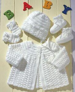 "Premature Baby Knitting Pattern DK Matinee Coat, Bonnet, Boots 14-20"" 0-12 mths"