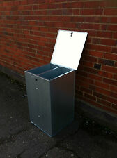 SMALL GALVANISED FEED BIN WITH TWO COMPARTMENTS pet food storage bin.dog cat