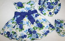 Janie and Jack Easter Spring Floral Dress & Hat Set Baby Girl Size 3-6 Months