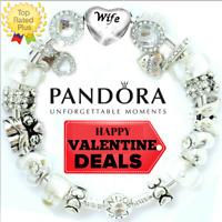 PANDORA Charm Bracelet Bangle with LOVE WIFE VALENTINE with European Charms New