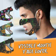 Face Mask With Clear Vinyl Visible Expression Lip Reading Printed Mask For Adult