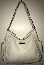Michael Kors ivory leather w/goldtone hardware braided trim shoulder bag