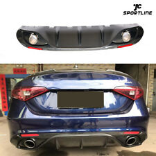 For Alfa Romeo Giulia Rear Bumper Lip Diffuser+Exhaust Pipe 17-19 Carbon Fiber