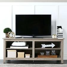 TV Stand Driftwood Storage Console Shelves 58 Inch Charcoal Furniture Rustic New