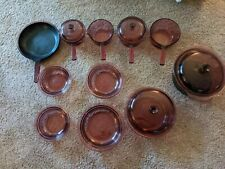15 Pc. Corning Ware Visions Pryex Sauce Pans Skillets Cookware Cranberry lot