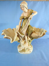 More details for royal dux, art novueau bohemia fisherwoman flanked by conch shell