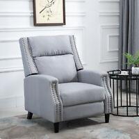 HOMCOM Linen Recliner Sofa Sleeper Footrest Grey