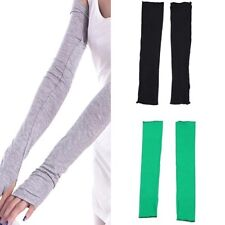 Womens Long Finger Less Gloves NEW Arm Warmers Sleeves Black Grey Green Red