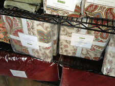 Pottery Barn Charlie Duvet Cover Set Red King 2 Euro Shams Paisley Floral New