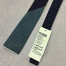 BOYS TOMMY HILFIGER DENIM BAXTER SQUARE END 6cm wide BLUE RED STRIPED COTTON TIE