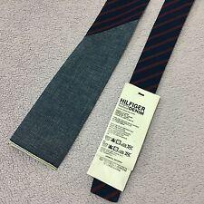 Ragazzi Tommy Hilfiger Denim Baxter QUADRATO fine larghezza 6cm BLU COTONE A RIGHE ROSSE cravatta