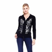 DG2 by Diane Gilman Embellished Knit Hoodie - Black (Large) 299415A SALE $45