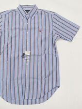 New tag Mens Ralph Lauren Periwinkle Blue Striped ShortSleeve Polo Dress Shirt S