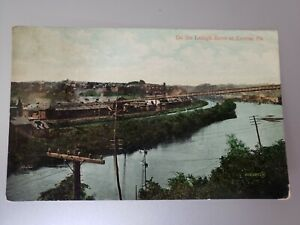 1908 VINTAGE POSTCARD LEHIGH RIVER EASTON PA RAILROAD CANAL 1CENT FRANKLIN STAMP