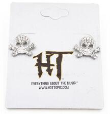 New Goth Rhinestone Crystal Skull Earrings by Hot Topic #E1169