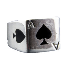 Ace of Spades Band Card Gamble Ring 925 solid silver Metal Biker feeanddave