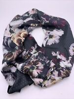 """NWT  Women's Echo  silk  scarf square 34"""" black with pansies     #519"""