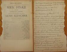 Theatre Program & Performance Notes 1904: Mrs. Fiske & Co. in 'Leah Kleschna'