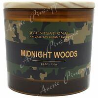 Scentsational Natural Soy Blend Large 26oz Candle Jar Wood Lid - Midnight Woods
