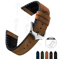 20mm 22mm Quick Release Genuine Leather/Rubber Watch Band Replace Wrist Strap