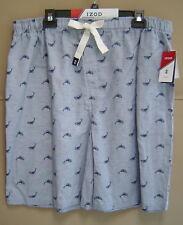 NWT $45 IZOD Men LT TALL COTTON SLUB WOVEN SLEEP SHORTS Whale Pajama MEDIUM BLUE