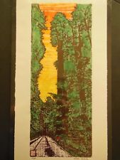 Giant Sequoia Forest Road Large Woodblock print Moku Hanga Japanese Washi signed