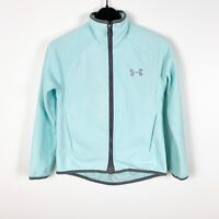 Under Armour Youth Girls Zip Up Athletic Fleece Jacket Sz Small S Light Blue