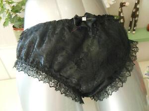 Black Satin Lined Lace  Panties, Sissy/CD/TV