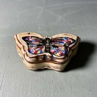 Fine Antique Hand Painted Butterfly Trinket Box <A18
