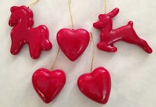 "Red 3.5"" Horse Deer & Hearts Figurine Ornament - Lot of 5 Pieces"