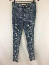 2bd41a4f5 Vibrant Womens Jeans 13 Skinny High Waisted Distressed Destroyed Acid Stone  Wash