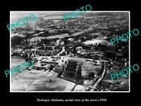 OLD POSTCARD SIZE PHOTO TUSKAGEE ALABAMA AERIAL VIEW OF TOWN c1940