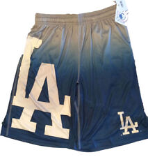 MLB Mens Gradient Big Logo Training Shorts Los Angeles Dodgers