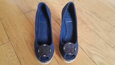 TORY BURCH Navy Canvas Espadrille Peep Toe Wedges Size 6 Excellent Condition