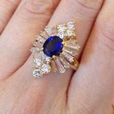 Vintage Zafiro Y Diamante Anillo en 18ct Oro Amarillo - hm1259