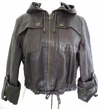 My Tribe Leather Hooded Jacket . Size M Short Style . Full Zip Dark Brown