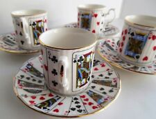 Elizabethan Staffordshire Cut For Coffee Bridge Cup Saucer Set Playing Cards