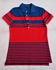 RALPH LAUREN BOYS MED POLO SHIRT:   RED / NAVY STRIPED:   GOOD USED CONDITION!