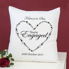 Personalised You're Engaged Heart Design Cushion - Printed With Any Message