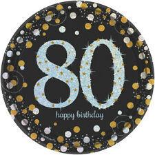 SPARKLING CELEBRATION 80th Birthday SMALL PAPER PLATES (8) ~ Party Supplies Cake