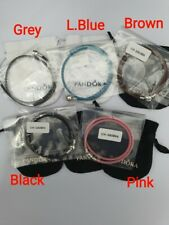 Genuine Sterling Silver PANDORA  DOUBLE WRAP LEATHER BRACELET 38CM ALL COLOURS
