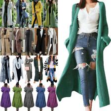 Strickjacke Damen Lange Cardigan Sweater Winter Strickmantel Kapuzen Outerwear