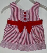 GYMBOREE Size 3-6 Months Red Seersucker Ruffles 3-Button Striped Blouse