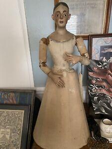 """Antique 19Th Century articulated 28 """" Santos cage doll unique"""